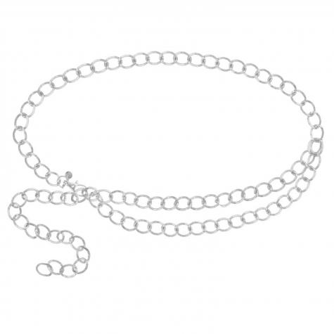 dubbele chain belt zilver
