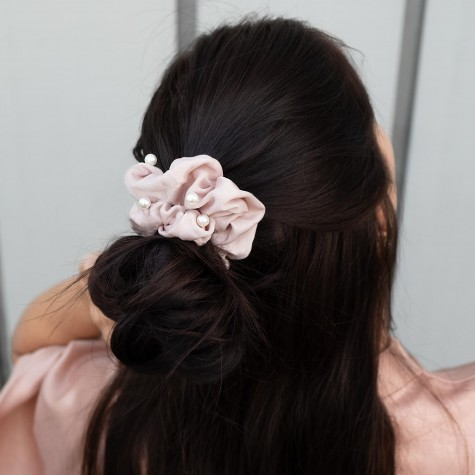 Scrunchie Parel Taupe