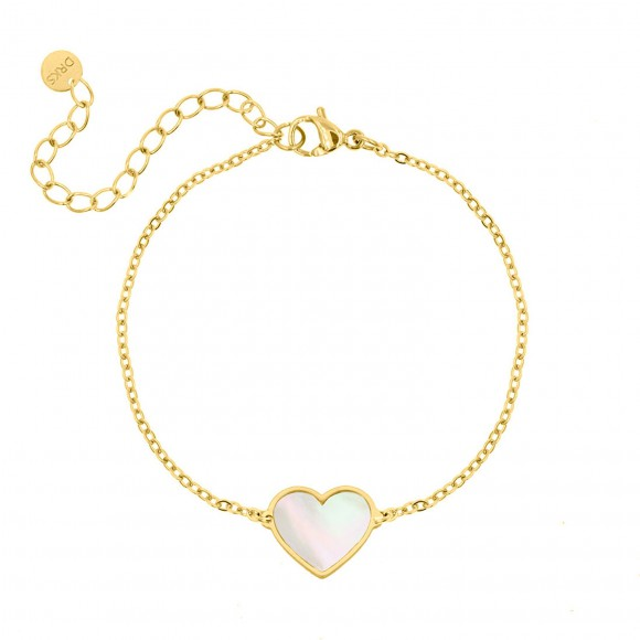 Armband hartje sea shell kleur goud