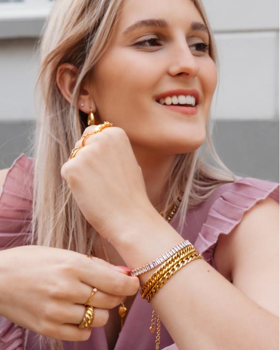 Luxe tennis bracelet goudkleurig