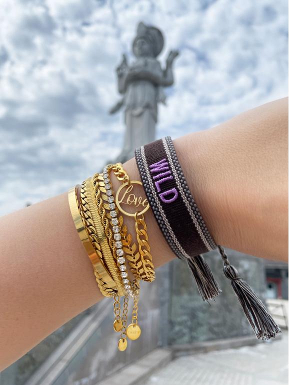 Gouden armparty met bohemian armband