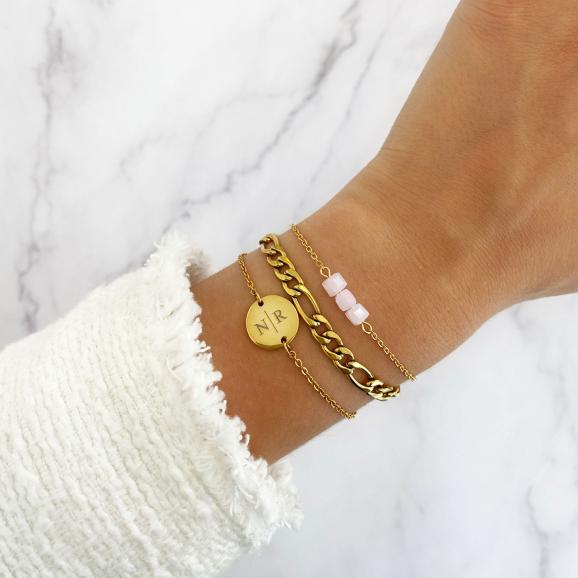 Gepersonaliseerde Armband Twee Initialen Goud Kleurig