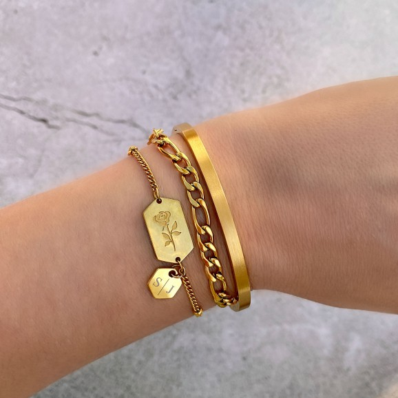 Gouden chain armband mixed op vachtje