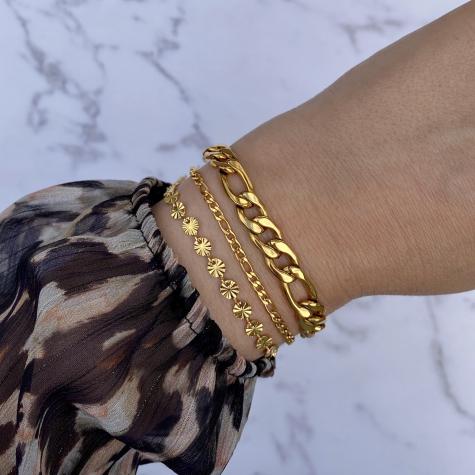 Armband minimalistisch mixed chains kleur goud