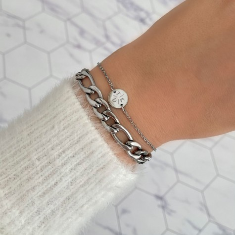 Armband 3 initialen met mini muntje