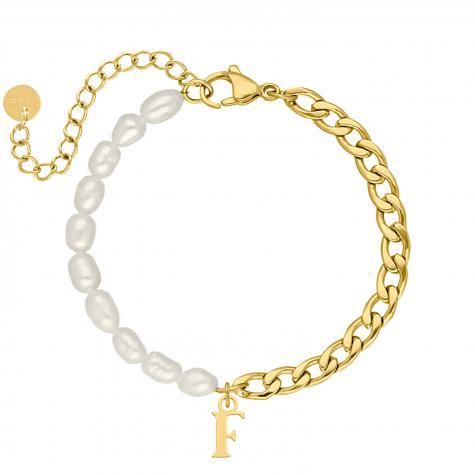 Initial armband chain & pearl kleur goud