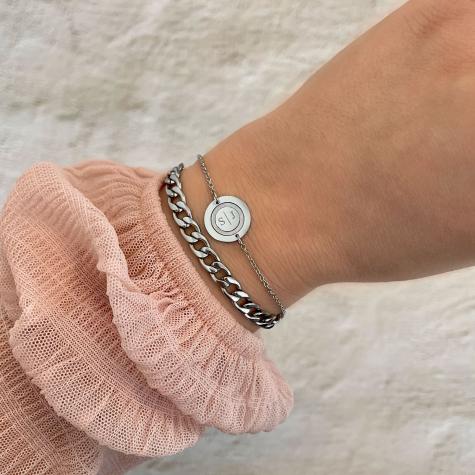 Zilveren grove chain armband