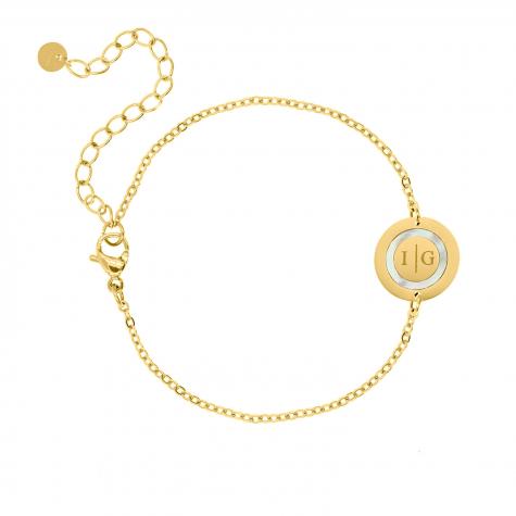 Armband 2 initials parelmoer kleur goud