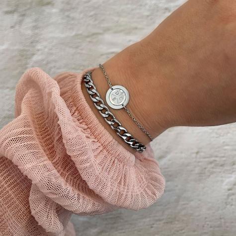 Armband 3 initials parelmoer