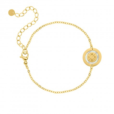 Armband 4 initials parelmoer kleur goud