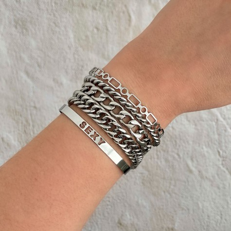 Big chain armband zilver