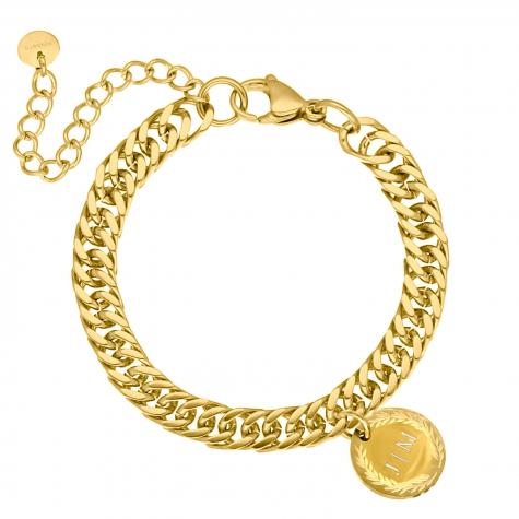 Schakelarmband graveerbare munt kleur goud