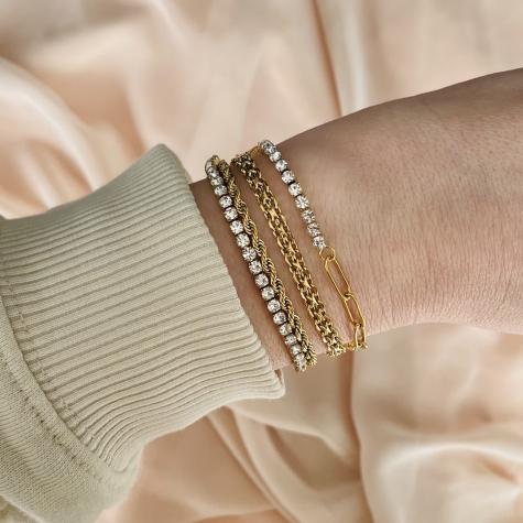 Tennis bracelet met schakels goud kleurig