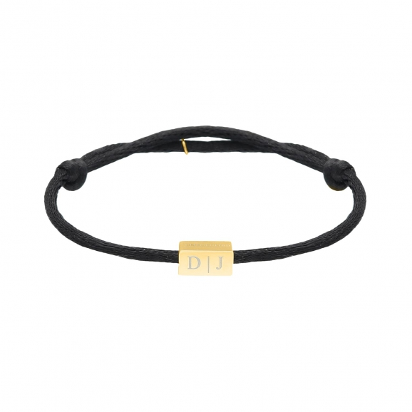 Initial cube armband zwart gold plated