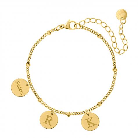 Graveerbare armband 3 muntjes goud kleurig