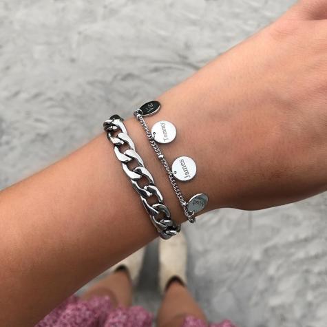 Armband met namen 4 muntjes