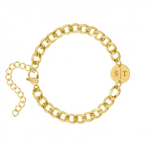 Armband Chunky 2 initials goud kleurig