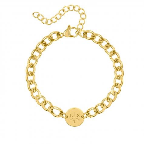 Armband Chunky 3 initials goud kleurig