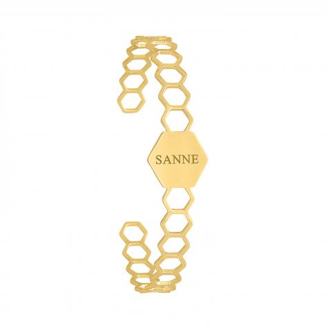 Bangle met naam hexagon goud kleurig