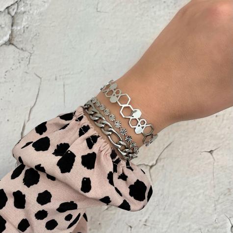Bangle hexagon kleur zilver