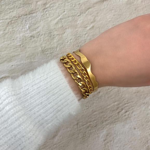 Armparty met mixed chain armbandje goud