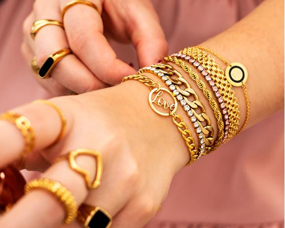 Platte armband mesh goud kleurig