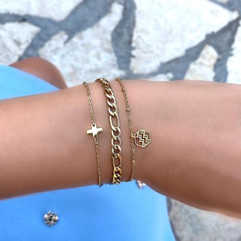 Gouden armband met plus teken