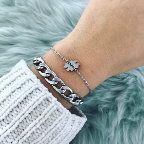 Zilveren armband met hashtag teken