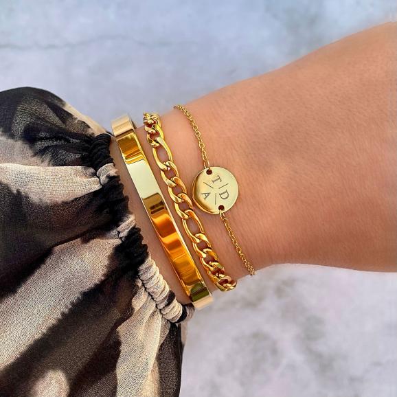 Armparty met schakelarmband gemixed in de kleur goud
