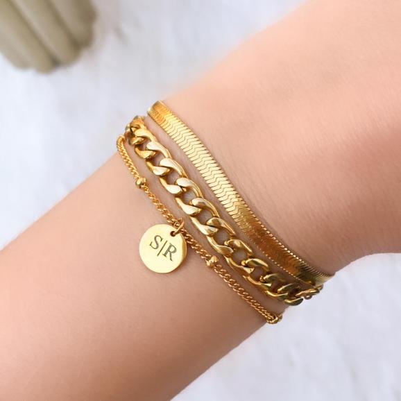 Gouden letter armband met chain armbanden
