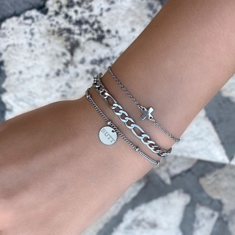 Zilver armbandje met graveerbaar muntje