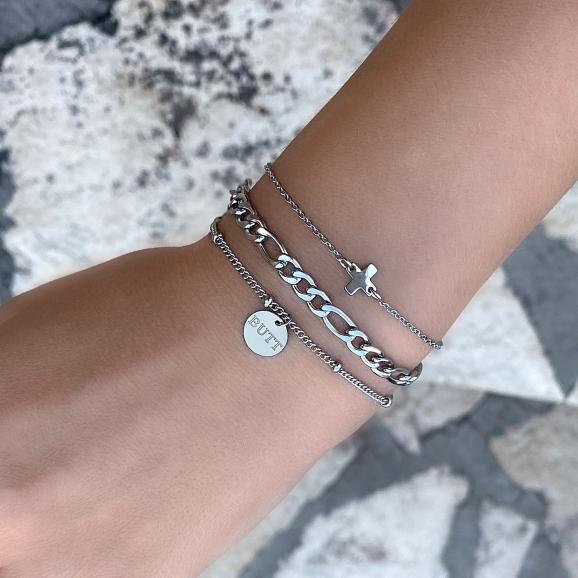 Mooie graveerbare zilveren armband met schakelarmbandjes