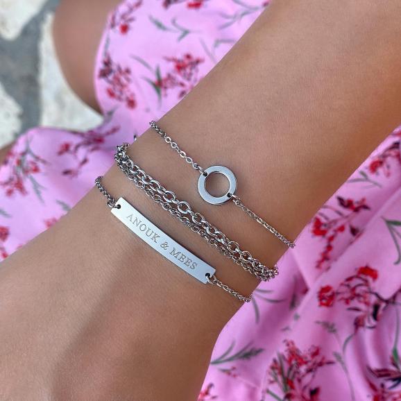 Zilveren bar armband voor om de pols