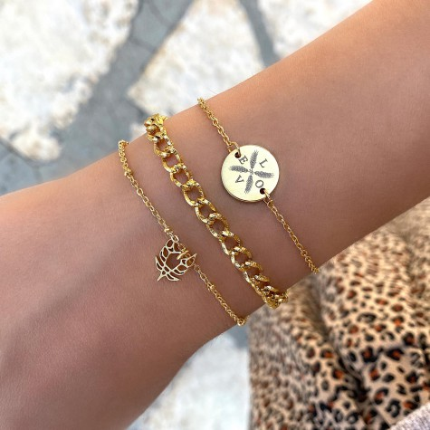 Armband vier letters Goud Kleurig