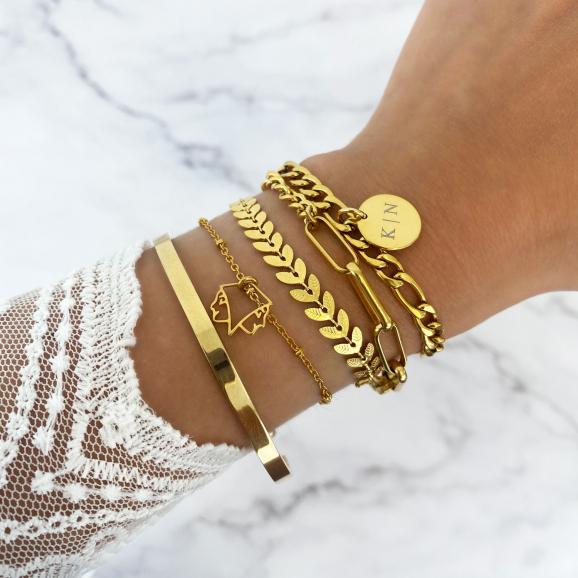 combinatie met goud kleurige armbandjes