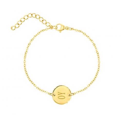 Finaste armband met ronde bedel in goud die je gratis kunt laten graveren