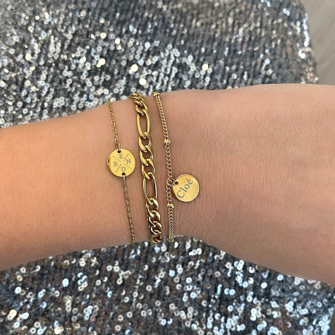 Armband 4 letters met mini coin goud