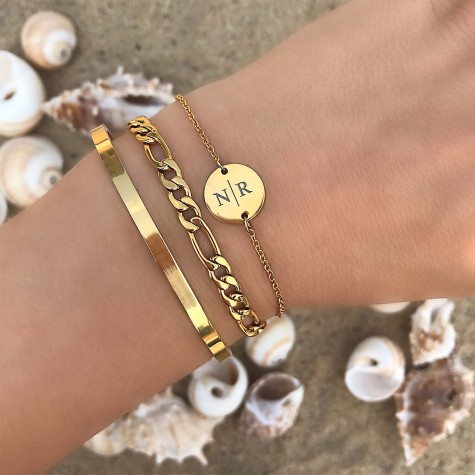 Armbanden Set Graveerbaar Goud Kleurig