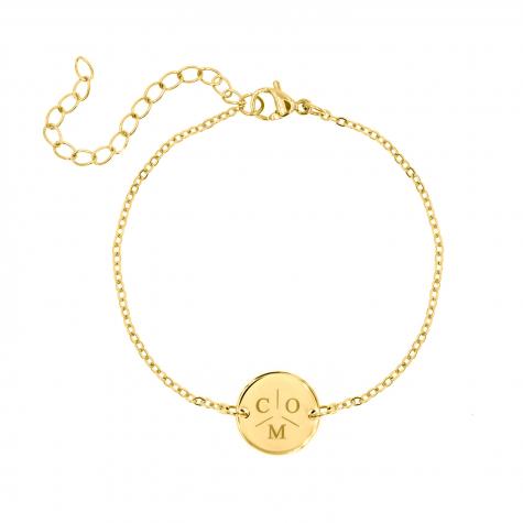 Graveerbare Armband met Drie Initialen Goud