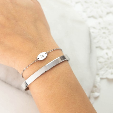 Graveerbaar armbandje met ovaal muntje zilver