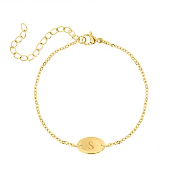Initial armband met ovaal muntje goud
