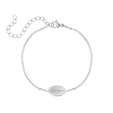 Trendy armbandje met 4 letters zilver