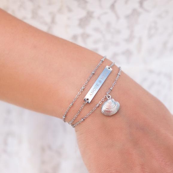 Graveerbare bar armband in combinatie met anderen
