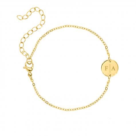 2 initialen armband klein muntje goud