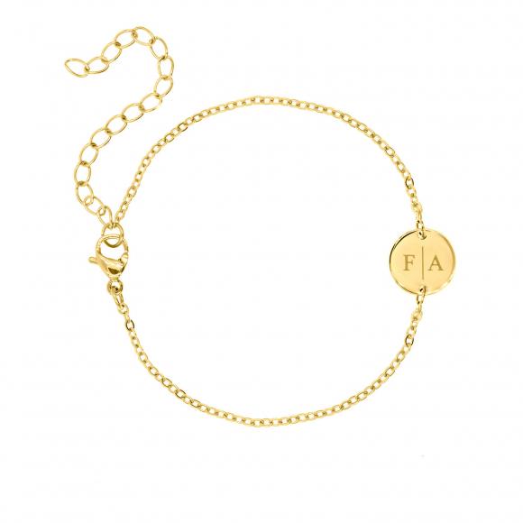 2 initialen armband klein muntje goud kleurig