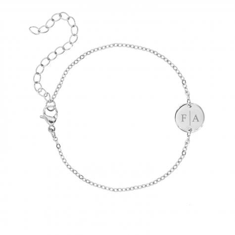2 initialen armband klein muntje zilver