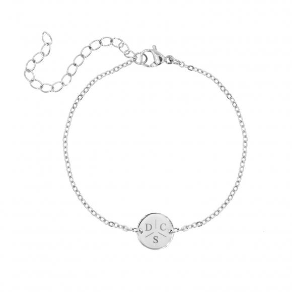 Armband 3 initialen met mini muntje zilver