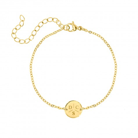 Armband 3 initialen met mini muntje goud