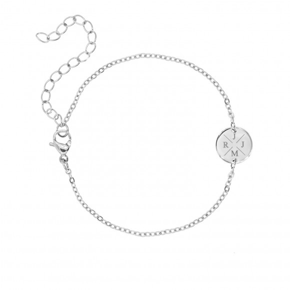 Armband 4 letters met mini coin zilver