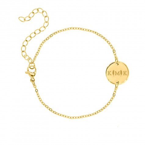 Letter armband 3 initialen Goud